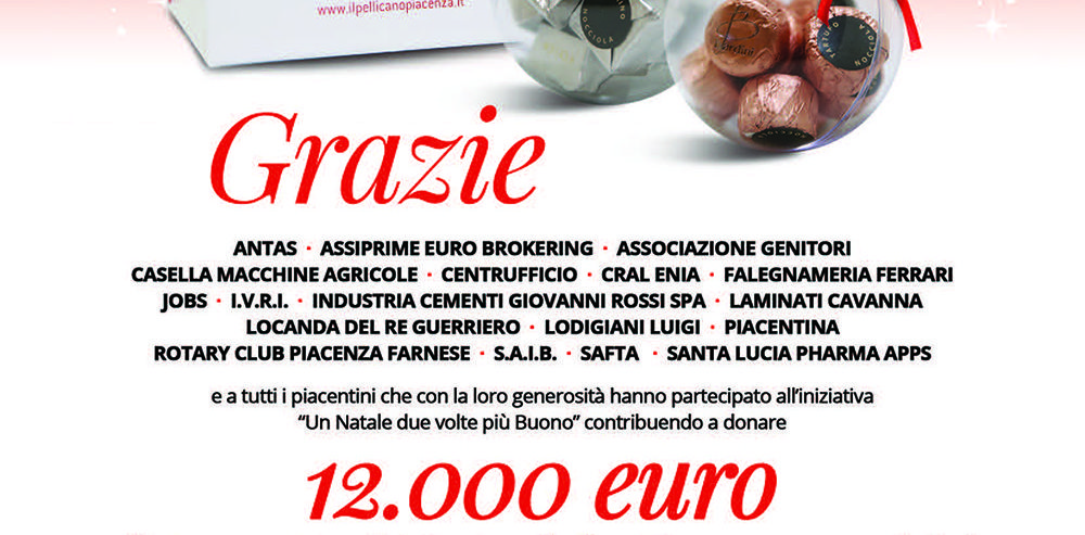 Raccolti 12.000 euro con la campagna Un Natale Due Volte più Buono